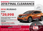 Save on a Brand-New 2016 Nissan Murano Today!