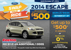 Save $500 on a 2014 Ford Escape!