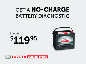 No-charge Diagnostic - Battery starting at $119,95