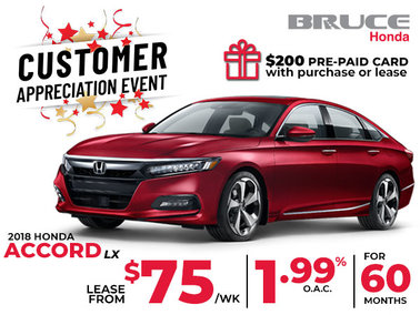 Lease the 2018 Honda Accord LX for Just $75 Weekly