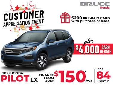 Finance the Honda Pilot LX for Only $150 Weekly