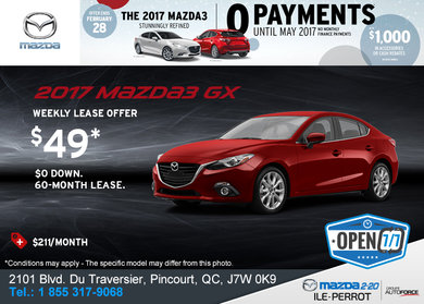 Get the 2017 Mazda3 GX Today!