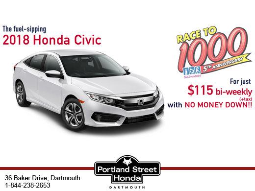 The Fuel-sipping 2018 Honda Civic For just $115 bi-weekly