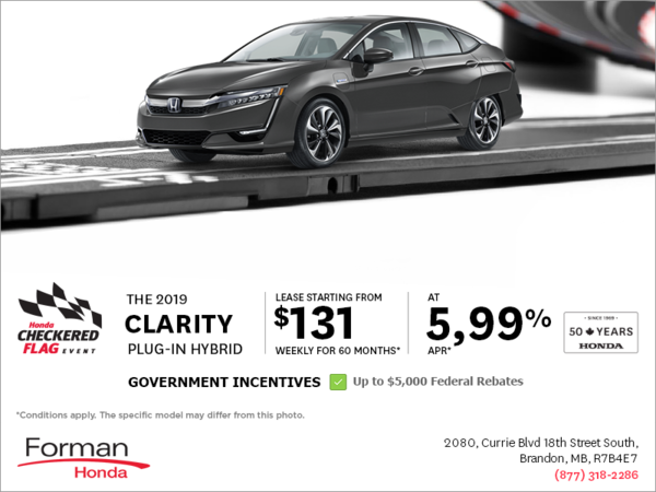 Forman Honda - Lease the 2019 Clarity Plug-in Hybrid Today!