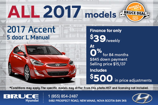 Save on the 2017 Hyundai Accent 5 Door!