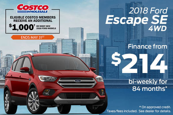 Save $2,000 on the 2018 Ford Escape SE in May!